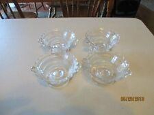 Vintage clear custard dishes handles scalloped edges sorbet dessert