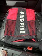 Victoria Secret VS PINK drawstring Bag Backpack Athletic Gym Tote cup holders
