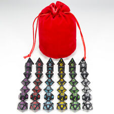 6 Sets of 7 Dice DND Black Multi Color Numbers for Board Game-Free Velvet Bag
