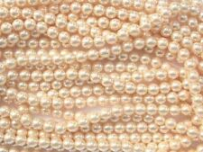 CREAM Czech glass round pearl beads - string of 75 beads - 8mm