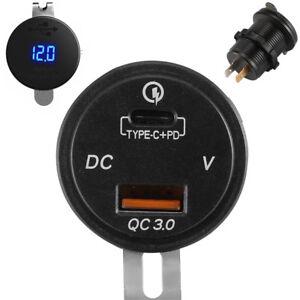Car Truck USB Type-C Charger TypeC Power Socket Adapter w/ LED Digital Voltmeter