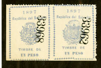 Salvador Stamps 1897 Revenue Excellent Condition Imperf Between