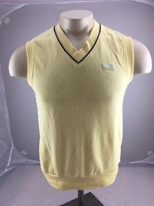 VTG Vintage ASICS Men's Yellow Vest V-neck Pullover Sweatshirt Size M Japan Made