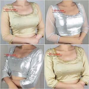 Sari Saree Blouse Gold Silver Quarter Sleeves Indian Bollywood Stitched Choli