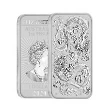 2020 Australia Dragon - 1 oz. 9999 Fine Silver Bar - Brilliant Uncirculated- New