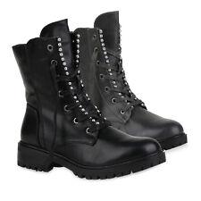 Damen Stiefeletten Schnürstiefeletten Gefütterte Stiefel 823682 Schuhe