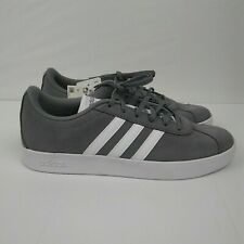 ADIDAS VL Court 2.0 K Shoes Suede Sneakers Gray White Youth Size 7 / Women's 8.5