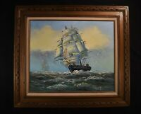 Vtg Original Oil Clipper Ship Nautical Painting Signed WALLEN 32 x 28.