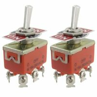 New 2 Pcs Metal AC 250V 15A Amps ON/OFF/ON 3 Position DPDT Toggle Switch W2V2
