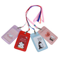 1Pc cartoon leather credit card holder business badge ID case bus bank wal-v