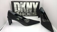 Designer Fancy DKNY Black Suede Kelsey Pump Heels Shoes Women's Size 8