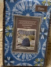 "New Anthology Bloomsbury Euro Boho Blue Cotton Pillow Sham 26"" X 26"" Nip"