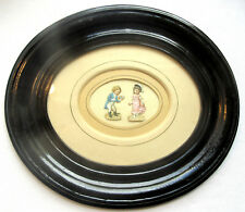 Cadre ovale Napoléon III, médaillon bois noirci, passe-partout + chromo enfants