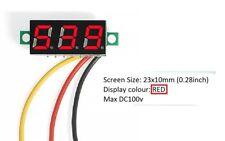 """Mini 0.28"""" DC Digital Volt Meter LED Voltage 0-100V RED Battery Solar PV"""