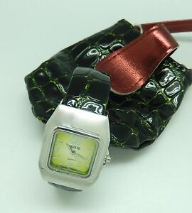 Watch Womans Cuff- green square face--dark green faux leather band-matching bag
