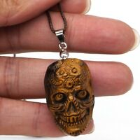 "1.2"" Skull Head Statue Natural Yellow Tiger Eye Pendant Carved Necklace Jewelry"