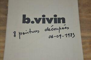 Dédicace de B. Vivin sur 8 peintures découpées 6-9-1983 / Ref A30