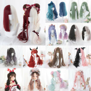 Lolita Long/Short Curly Cute Bangs Ombre Rainbow Halloween Party Cosplay Wig AU