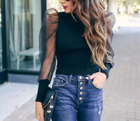 Women Sheer Mesh Blouse Long Puff Sleeve T-shirt Tops Ladies Casual Loose Blouse