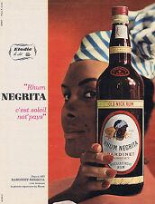 PUBLICITE ADVERTISING 094 1963 RHUM NEGRITA c'est soleil not'pays
