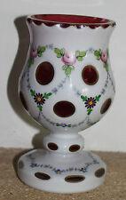 ancien et beau vase en cristal de bohème overlay et opaline