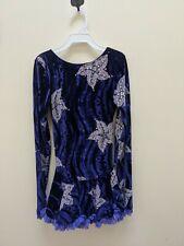 Mondor Purple Velvet Winter Ice Floral Pattern Scoop Back Long Sleeve Dress Girl