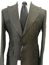 Black summer linen suit with double stitched wide peak lapel made in Italy