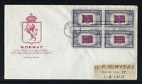 SCOTT# 911 X 4 - NORWAY/ OVERRUN COUNTRIES - FIRST DAY COVER - FARNAM CACHET
