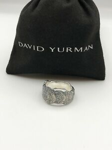 David Yurman Sterling Silver Men's 12mm Shipwreck Coin Band Ring Size 9