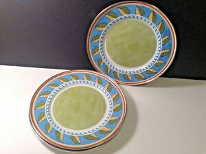 Formation Tin Dinner Plate With Green Leaves Blue 9 in Diam Lot of 4
