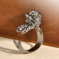 Hot Vintage Antique Rings Jewelry Bronze Bulldog Statement Wrap Animal Ring New