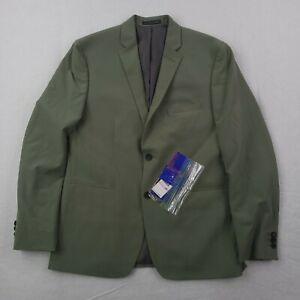 New Perry Ellis Blazer Mens Size 42 Very Slim Tech Olive Green Two Button Jacket