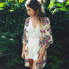 Summer Women's Kimono Cardigan Loose Floral Boho Beach Cover Up Jacket Top Shawl