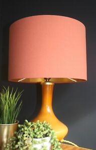 Lampshade, Earthy Terracotta Cotton with Brushed Gold Lining