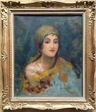 FRENCH IMPRESSIONIST Oil Painting 19thC Gustave-Henri COLIN Portrait of Woman