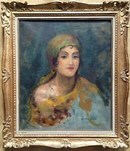 FRENCH IMPRESSIONISM Oil Painting 19thC Portrait of Woman Gustave-Henri COLIN