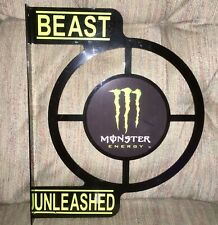 MONSTER ENERGY Drink Target / Shooter style Double Sided Metal Sign 15 x 13 RARE