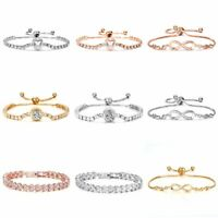 Women Fashion Style Gold Rhinestone CZ Heart Bangle Charm Bracelet Jewelry