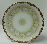 T & V Limoges France Hand Painted Scalloped Cabinet Plate White Roses