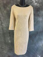 BEAUTIFUL St John evening knit gold shimmer paillettes dress size 8