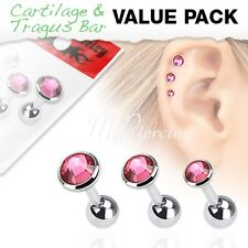 "316L Tragus Bar with Pink Cz Gem Top 3 Pcs 16G~1/4"" - 6mm Value Pack of Assorted"