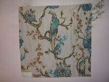 "Highland Court ""Plumeria"" large bird floral brocade for crafts color aqua/green"