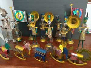Vintage Mexican Punched Tin Lot 3D Figurine Christmas Ornaments Folk Art