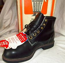 New GEORGIA BOOT Heavy-Duty Workboots 7.5 XW Black LACE-UP Made in USA Steel