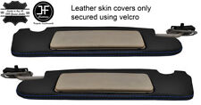 BLACK STITCH 2X SUN VISORS REAL LEATHER COVERS FOR MERCEDES SL CLASS R129 89-02