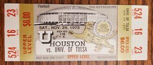 Houston Cougars Tulsa Football FULL Ticket 11/29 1975 Steve Largent Seattle Stub