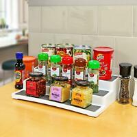 3 Tier Non Slip Plastic Kitchen Spice Herb Jar Rack Holder Cupboard Organiser