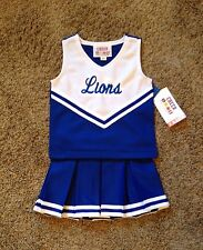 Girls Size 10 Blue & White  Lions Logo Cheerleader Dress Up uniform Costume NWT!