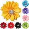 10 Pcs Satin Ribbon Flowers Shiny Rhinestone Appliques DIY Craft Surprise