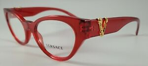 Versace Eyeglasses NEW 3282 Color 5280 Red Size 51 Small Authentic Cat Eye